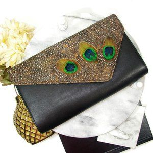 Pheasant Feather Clutch Bag